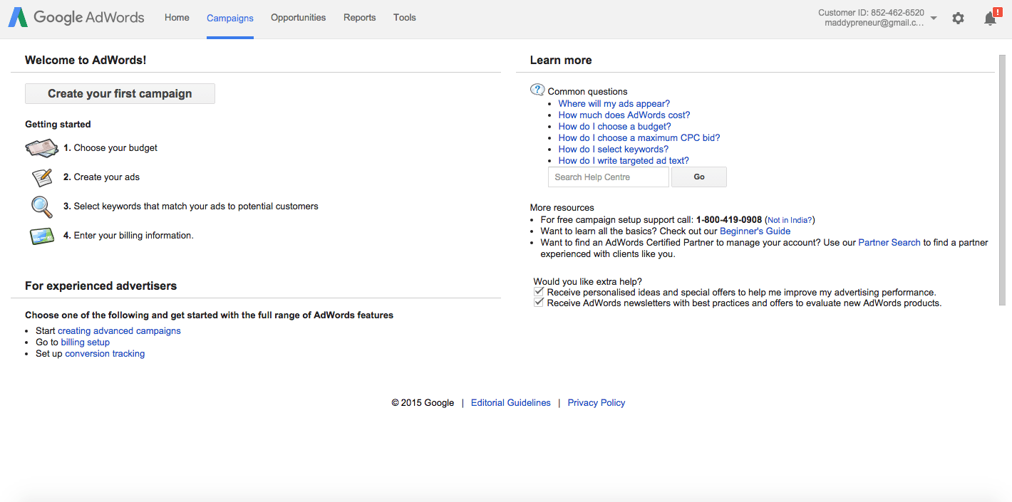Login to your Google Adwords account