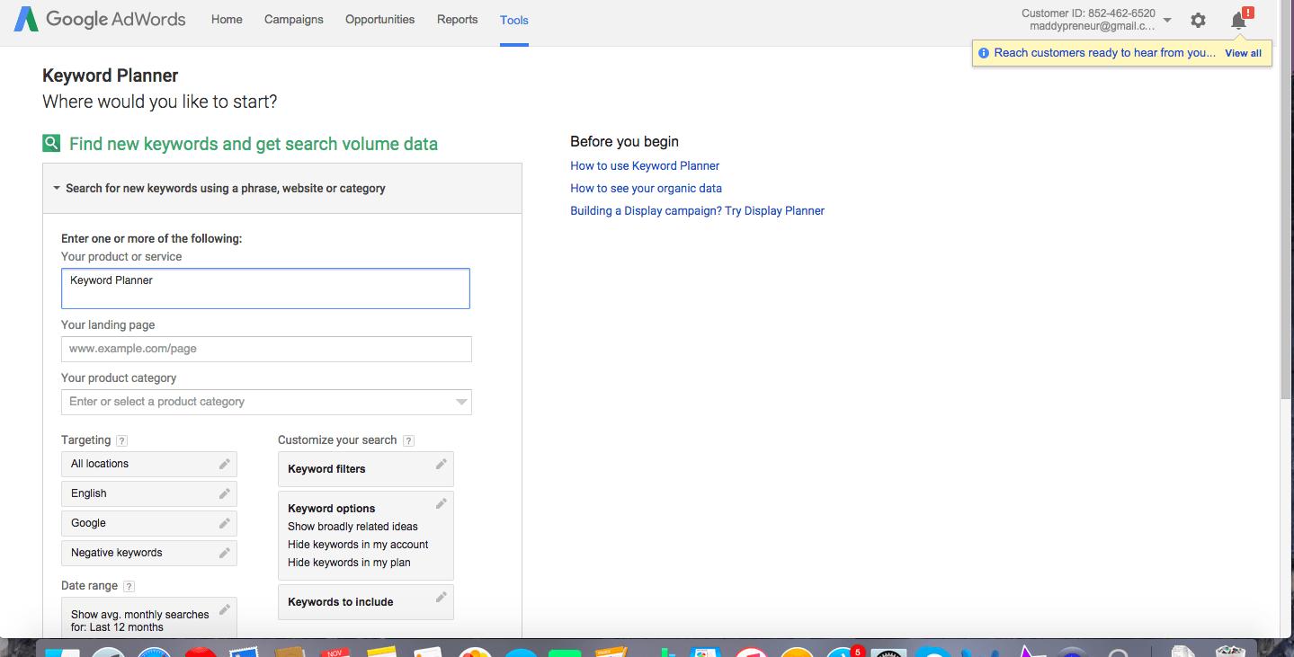 Type your preferred Keyword