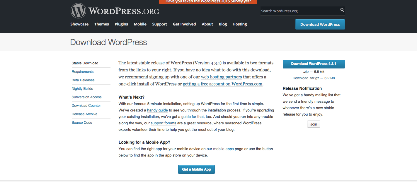 Down latest version of WordPress from https://wordpress.org/download/