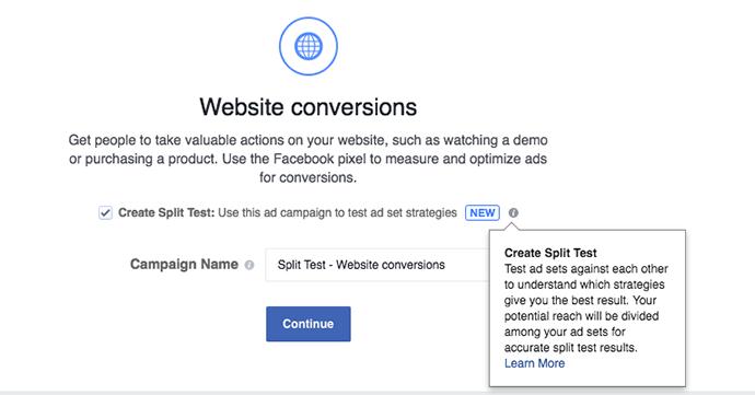Website conversions - split testing.